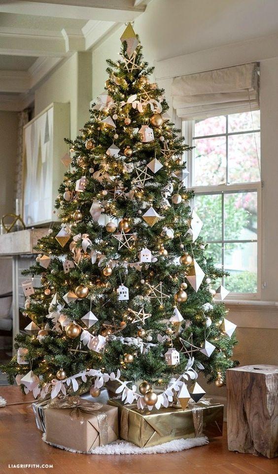 Decoracion de navidad plata con dorado (20)