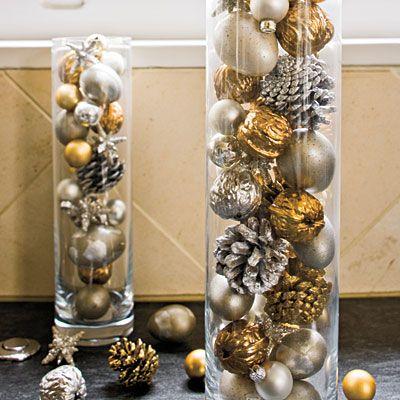 Decoracion de navidad plata con dorado (22)