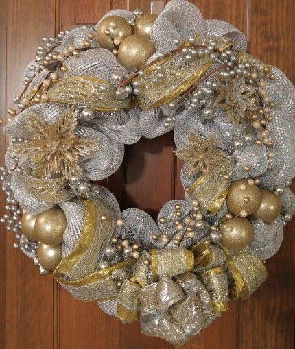 Decoracion de navidad plata con dorado (3)