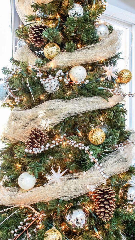 Decoracion de navidad plata con dorado (5)