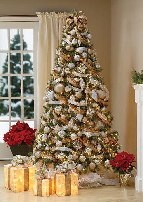 Decoracion de navidad plata con dorado (7)