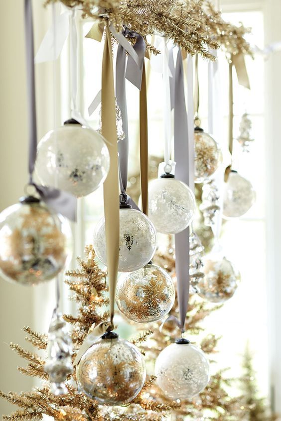 Decoracion de navidad plata con dorado (8)