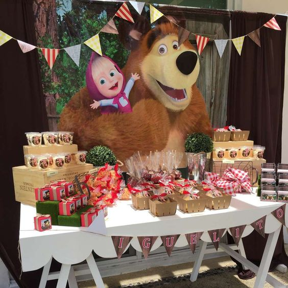 Fiesta de cumplea os tem tica de masha y el oso - Menu para fiesta de cumpleanos en casa ...