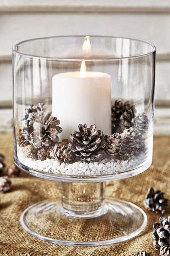 Adornos navide os con pi as y velas decoracion de - Adornos navidenos con velas ...