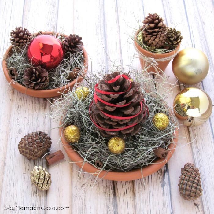 De 25 increibles centros de mesa de navidad y como - Adornos navidenos de mesa ...