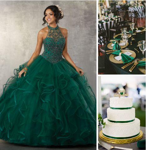 Vestidos de 15 verde esmeralda (2)