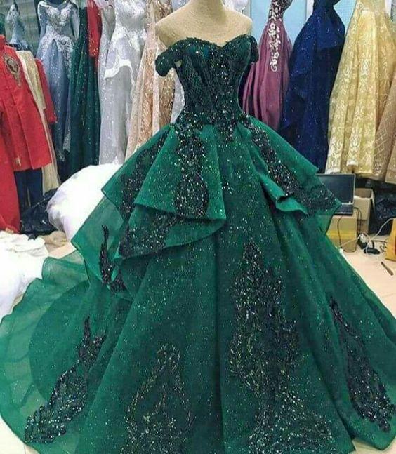 Vestidos de 15 verde esmeralda