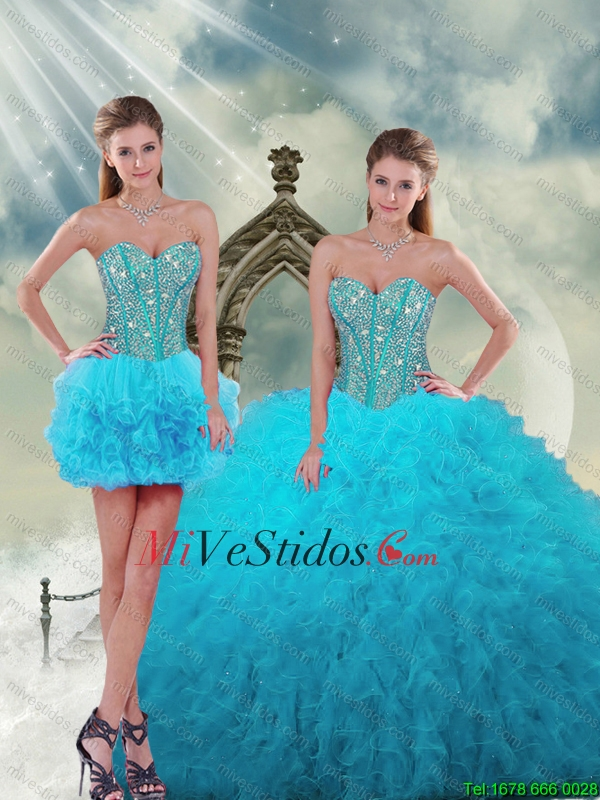Dresses xv years removable turquoise (2)