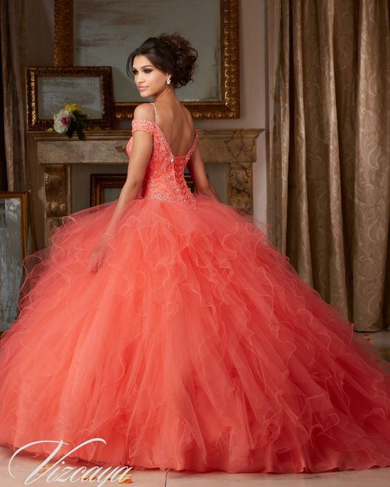 Quinceanera dresses coral color (1)