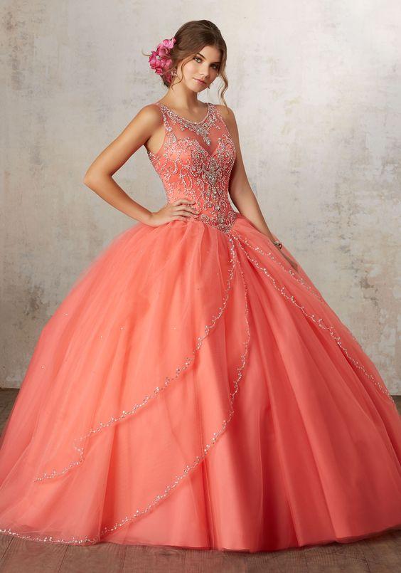d84e5bab9 Vestidos para quince años color coral Vestidos para quince años color coral