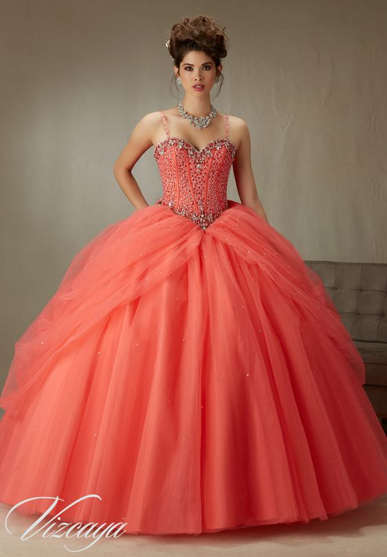 Quinceanera dresses coral colored (3)