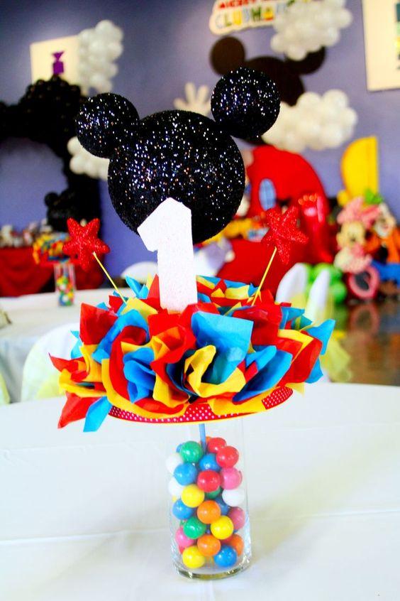 centro de mesa economico para fiesta de mickey mouse