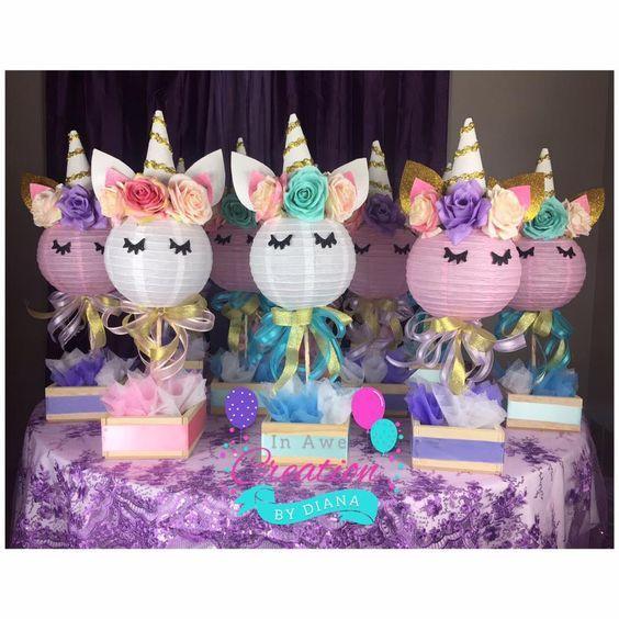 centros de mesa economicos para fiesta de unicornio