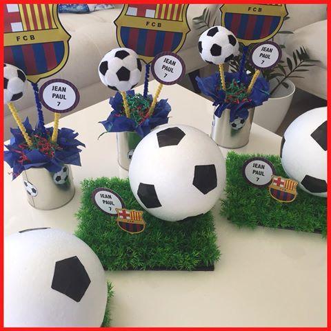 centros de mesa economicos para fiesta de futbol