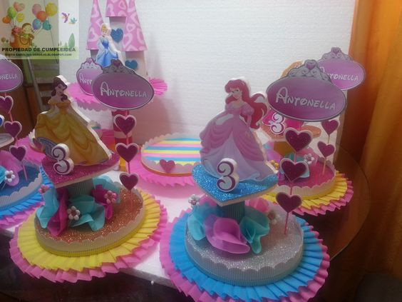 centros de mesa economicos para fiesta de princesas