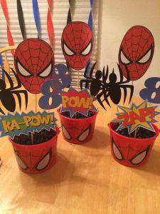 centros de mesa economicos para fiesta de spiderman