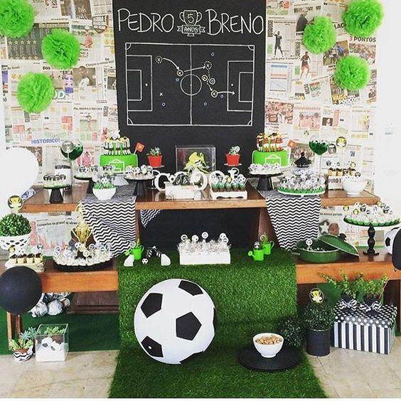 como decorar una fiesta de futbol infantil