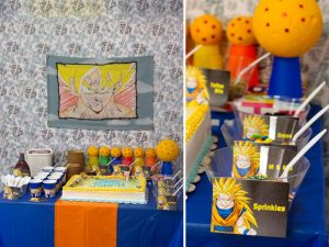 como decorar una mea de postres para fiesta infantil de goku (6)