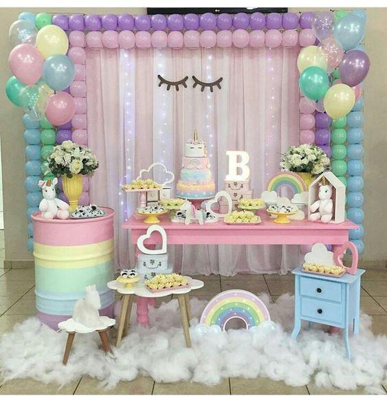 Cumpleanos de unicornio - Decoracion fiestas infantiles en casa ...