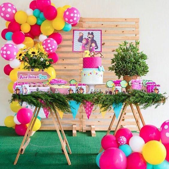decoracion de cumpleaños masha y el oso