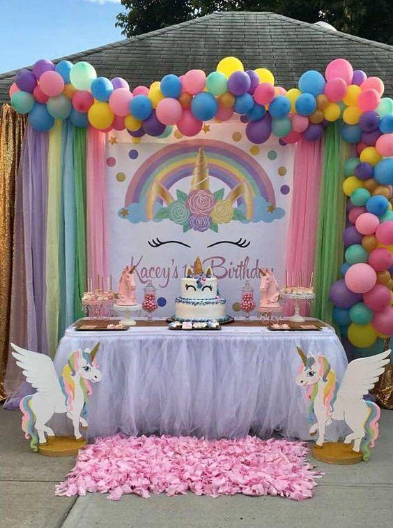 decoracion de unicornios con globos
