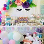 decoracion de unicornios para mesa de dulces