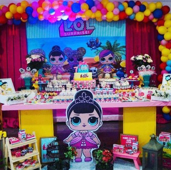 decoracion mesa del pastel fiesta muñecas lol
