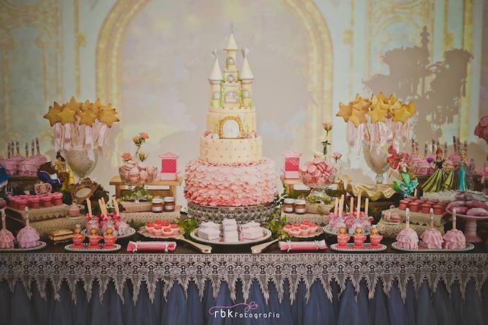 decoracion moderna de fiesta infantil princesas disney