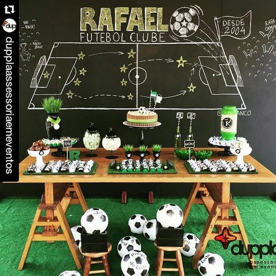 decoracion para cumple de futbol infantil