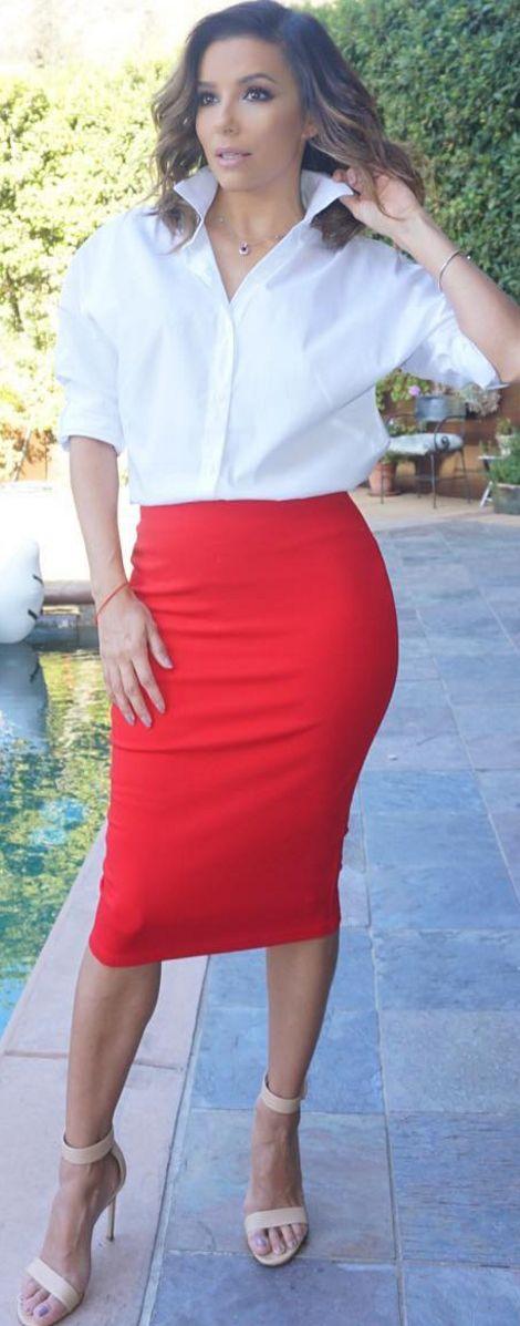 outfit con falda para mujeres de 40 anos o mas
