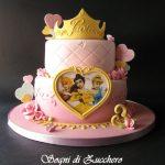 pastel de 2 pisos de princesas para fiesta infantil (3)