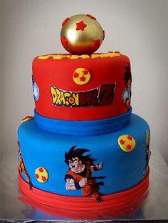 pastel de cumpleanos para fiesta de goku