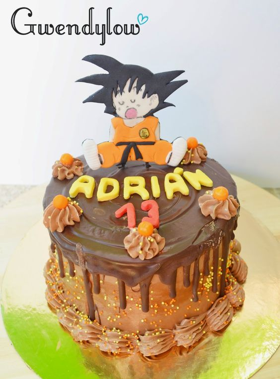 pastel pequeno para fiesta infantil de goku (2)