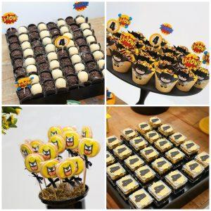 postres y bocadillos para una mesa de dulces fiesta batman (9)