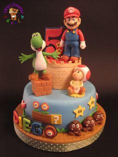 tarta de cumpleaños para fiesta de mario bros