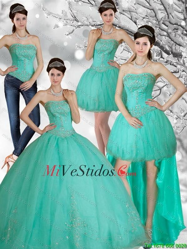 vestidos de 15 años desmontables verde agua