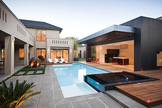 Casas modernas con piscina decoracion de interiores - Casas modernas con piscina ...