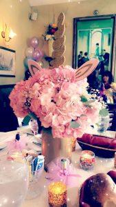 centro de mesa de unicornio elegante