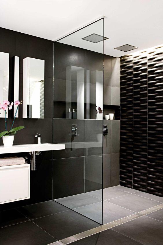 Azulejos para dise o de ba os las mejores tendencias for Modern black and white bathrooms