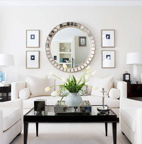 Decoracion con espejos en la sala