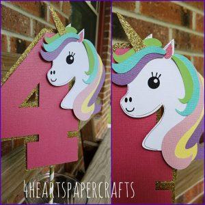 decoracion numero cuatro de unicornio