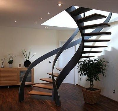 Escaleras modernas de caracol for Escaleras modernas para espacios pequenos