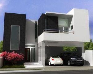 fachadas de casas de dos pisos minimalistas (5)