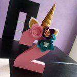 numeros de cumpleaños decorados de unicornio