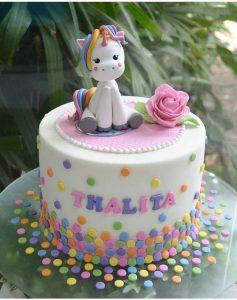 pastel sencillo para niña de unicornio