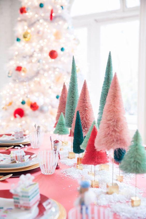 arreglo navideno color rosa para comedor 2018 2
