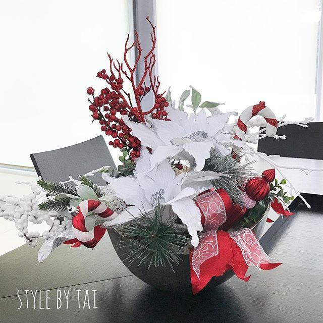 arreglo navideno en blanco y rojo para comedor 2018 2