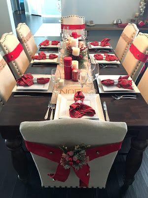 arreglo navideno en blanco y rojo para comedor 2018