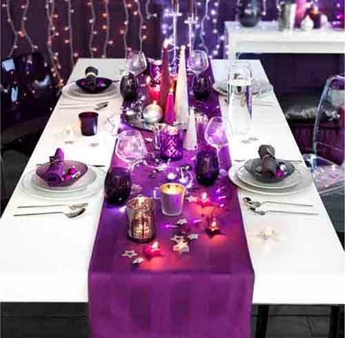 arreglo navideno en color violeta para comedor 2018