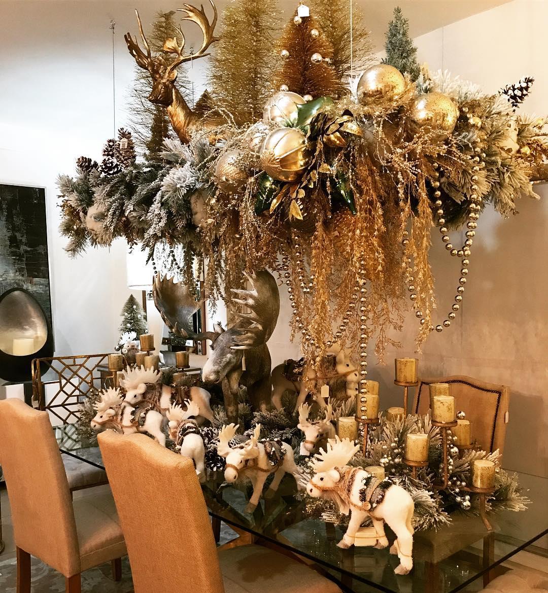 arreglo navideno en dorado para comedor 2018 3